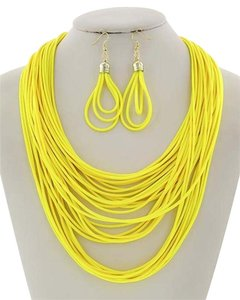 Yellow Cord Multi Row Necklace & Earrings