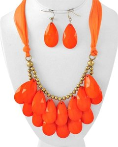 Other Burnished Gold Tone Orange Acrylic & Fabric Multi Row Necklace & Earrings