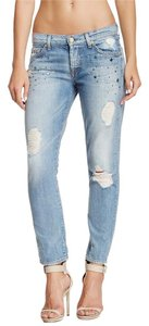 7 For All Mankind Distressed Jeweled Boyfriend Cut Jeans-Distressed