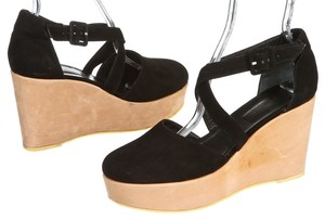 Robert Clergerie Black and Tan Wedges