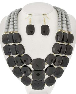 Other Black & Grey Acrylic Multi Row Necklace & Earrings
