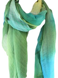 Other Ombre Scarf Turquoise Blues Linen Viscose