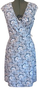 Ann Taylor LOFT short dress Blue Stretch Fitted Knee Length Floral Ethnic on Tradesy