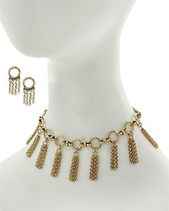 Burnished Gold Tone Choker Necklace & Earrings