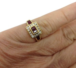 LeVian 18k Yellow Gold, 1.00 ct. t.w. red ruby, diamond, July Birthstone ring