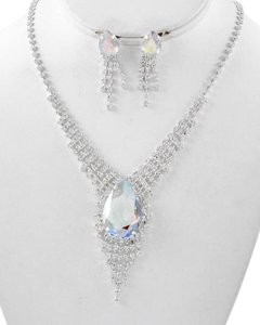 Silver Tone Ab Acrylic & Clear Rhinestone Y-necklace & Earrings