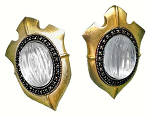 Judith Jack VINTAGE JUDITH JACK STERLING MARCASITE-RIBBED GLASS-GOLD SHIELD CLIP EARRINGS