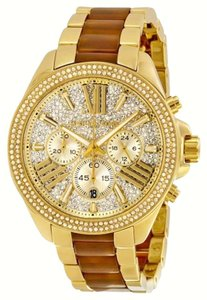 Michael Kors Wren Crystal Pave Dial Chronograph Gold-Tone and Amber Tortoise Acetate Ladies Watch MK6294