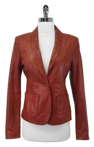 Rachel Zoe Rust Distressed Leather Leather Jacket