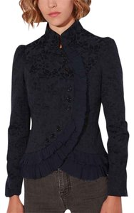 Lucca Couture Ruffle Brocade Top Navy Blue