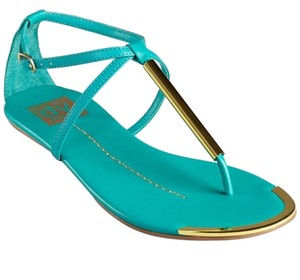 DV by Dolce Vita Gold Detail Archer Flat Celebrity Mint Stella Sandals