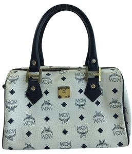 MCM Satchel in White/Navy