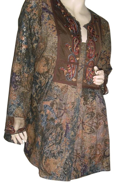 Item - Brown Beige Blue Paisley Earthy Embroidered Or Mini Dress Tunic Size 16 (XL, Plus 0x)