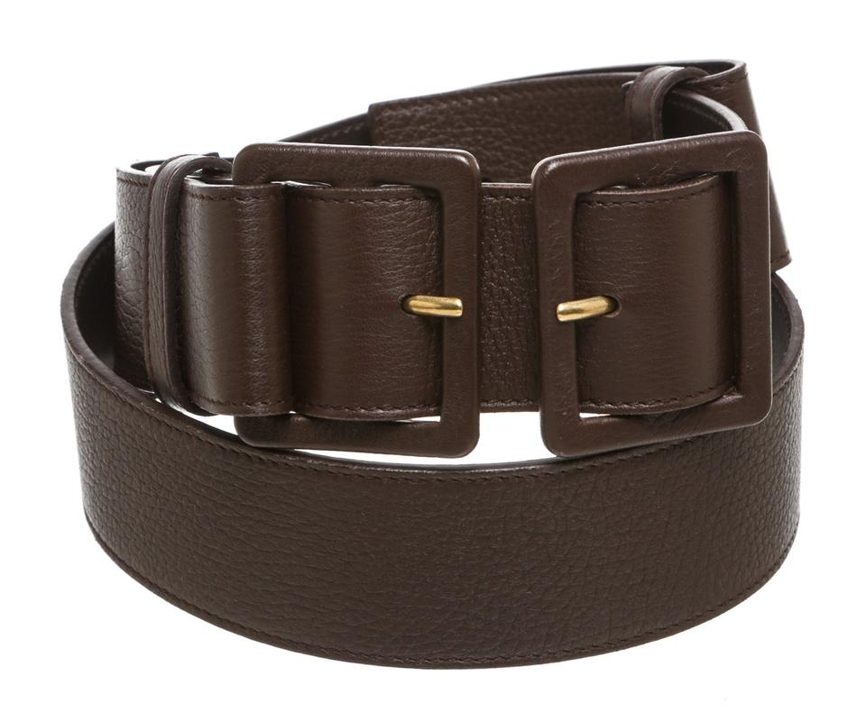 123a0fc2be0 Saint Laurent Brown Yves Leather Double Buckle (Size 34) 200568 Belt -  Tradesy