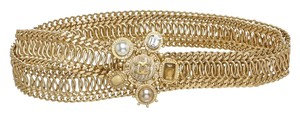 Chanel Chanel Gold Jeweled Flower Medallion Chain Belt (Size 43)