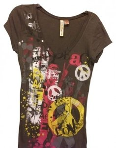 Eyeshadow Peace Text Graphic Bright Colors T Shirt Gray