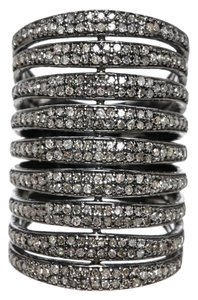 Julia Post Julia Post Sterling Silver Diamond 2.32ct Stacked Ring (Size 7)