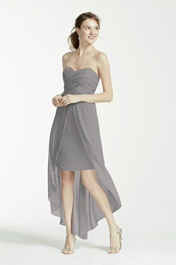 David 39 s bridal mercury strapless high low dress with split for High low wedding dress davids bridal