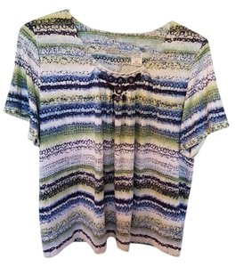Alfred Dunner Top White/blue/green