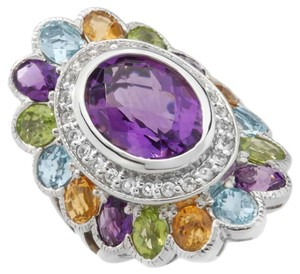 Sima K Sima K 9.66ct Amethyst and Multigem Sterling Silver Oval Ring - Size 7