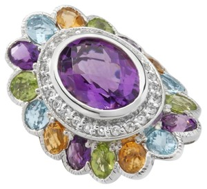 Sima K Sima K 9.66ct Amethyst and Multigem Sterling Silver Oval Ring - Size 6