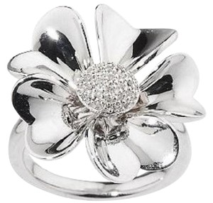 Affinity Diamond Affinity Diamond 1/10 ct tw Pave' Flower Sterling Silver Ring - Size 6