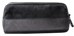 Coach Zippered Cosmetic Makeup Bag BLACK Signature Jacquard