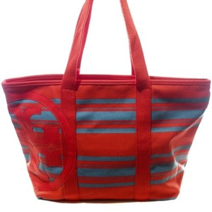 Tory Burch Stripe Canvas Tote in Multi-Color