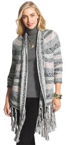 Chico's Fringe Textured Open Front Cardigan Sweater