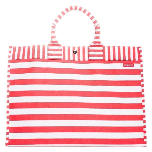 Item - Striped Canvas Tote Summer 2016 Collection Sold-out At Coral and White Cotton Beach Bag