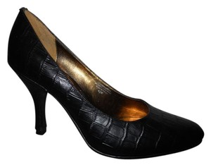 Fitzwell Leather Croc black Pumps