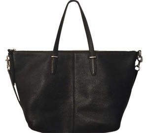 Coach Pebbled Leather Shoulder Tote in Black
