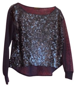 Grass Collection Worn Once Sequin Sparkle Sheer Sweater Party Formal Top navy