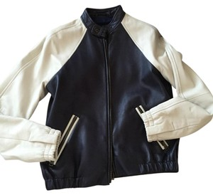 Coach Navy and ivory Leather Jacket