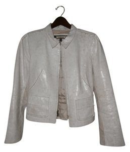 bebe Distressed White Leather Jacket