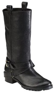Diane von Furstenberg Safari Leather Gold Riding black Boots