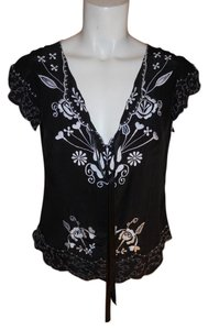 Nanette Lepore Silk Embroidered Cap Sleeve Tunic