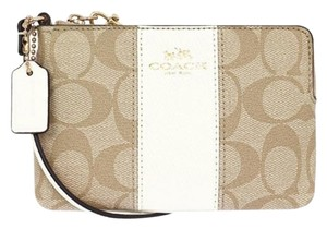 Coach Wristlet in Light Khaki/ Chalk