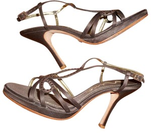 Nina Gold Rinestones brown Sandals