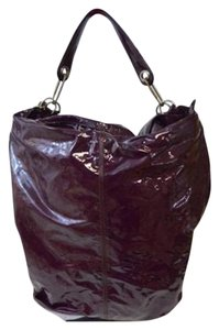 Lanvin Huge Patent Leather Python Gold Hardware Tote in Merlot Deep Purple
