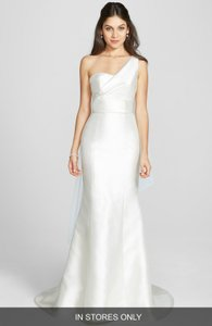 Amsale Lara' One-shoulder Mikado Satin Dress Wedding Dress