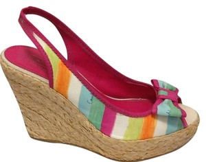 Coach Pink Canvas Bow Colorful Wedges