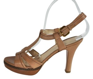Prada Leather Platform Nude Sandals