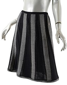 Chanel Gored Wool Blend Skirt Black White Metallic