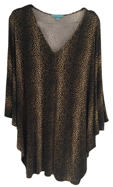 Item - Beige Short Printed Kaftan Cover-up/Sarong Size OS (One Size)