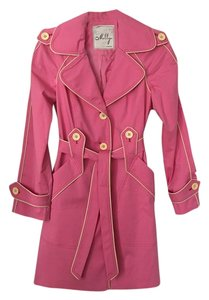 MILLY Trench Hot Pink Featured In Magazine Vintage Belted Trench Coat