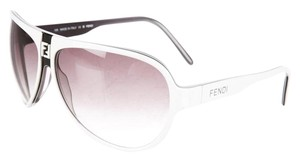 Fendi Black, white resin Fendi Zucca logo aviator sunglasses