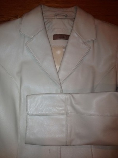 Ice Fitted white Leather Jacket