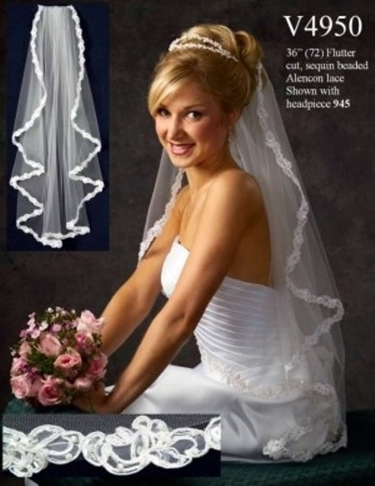 Ivory Medium V4950- New. Lace and Bead Trim Bridal Veil