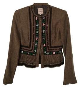 Nanette Lepore Vintage Embroidered Ruffle Brown Blazer